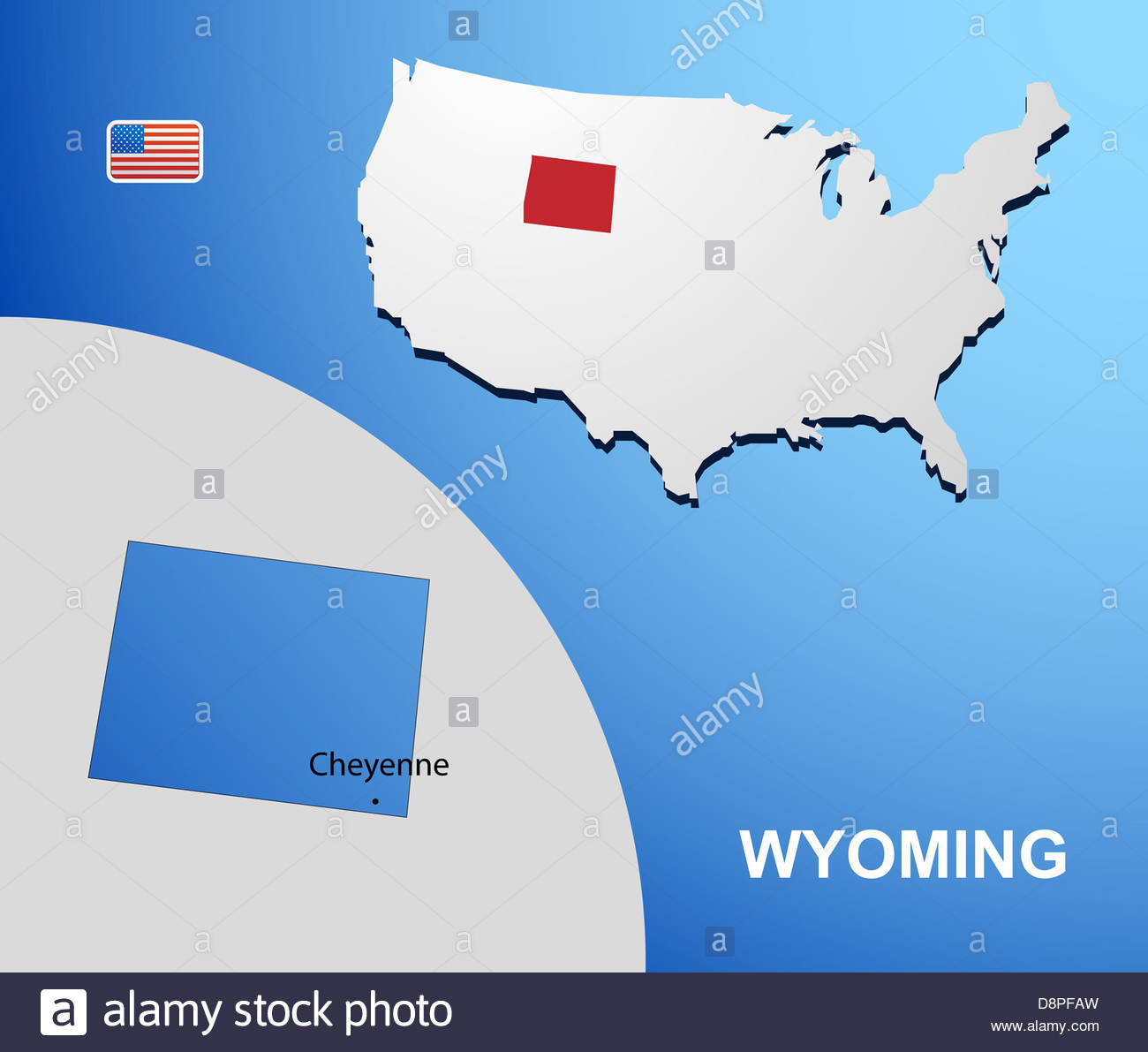Wyoming on USA map with map of the state Stock Photo: 57043361 - Alamy