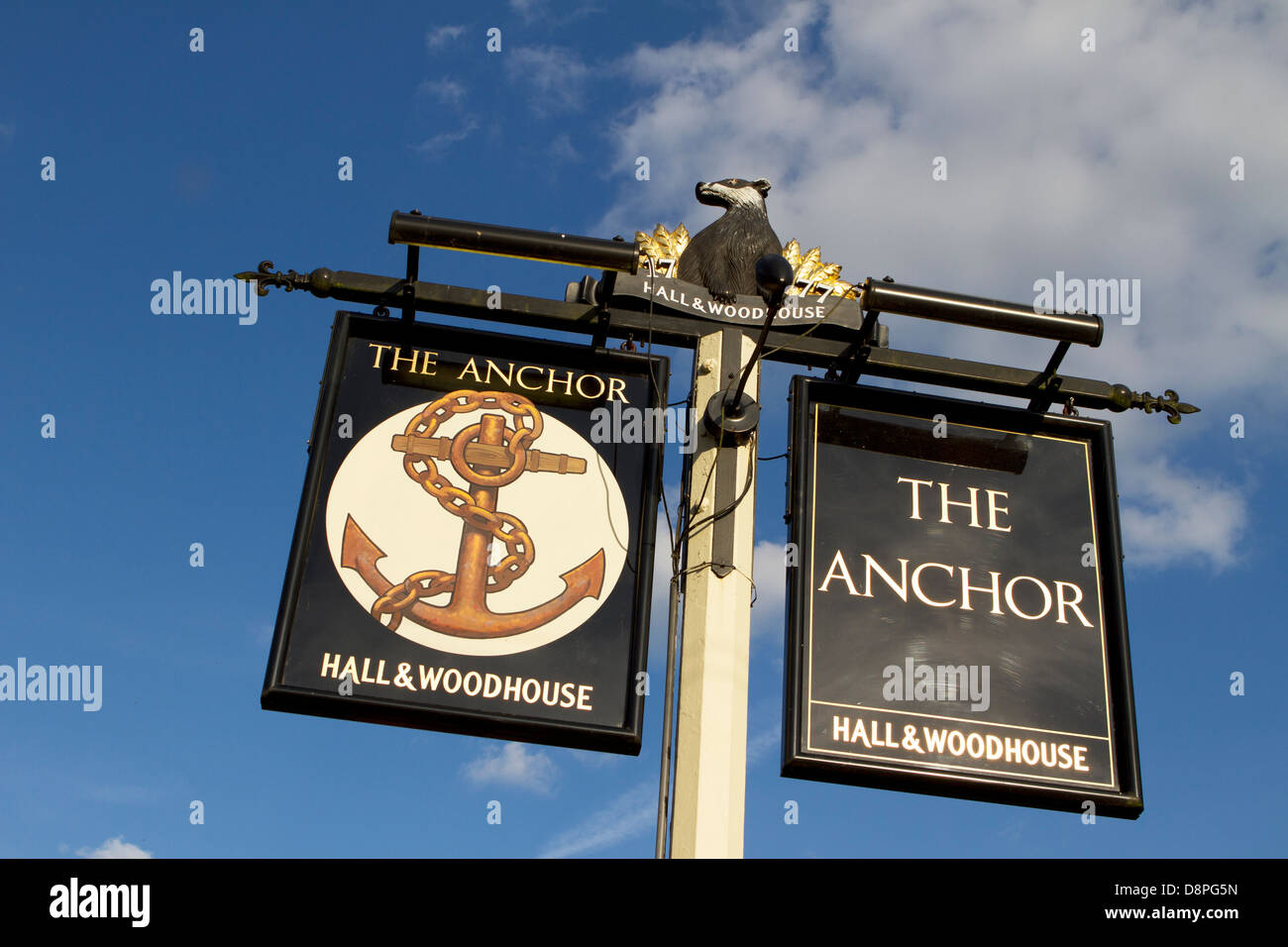 Sign for The Anchor, Pyrford.  A Hall & Woodhouse pub and restaurant. Stock Photo