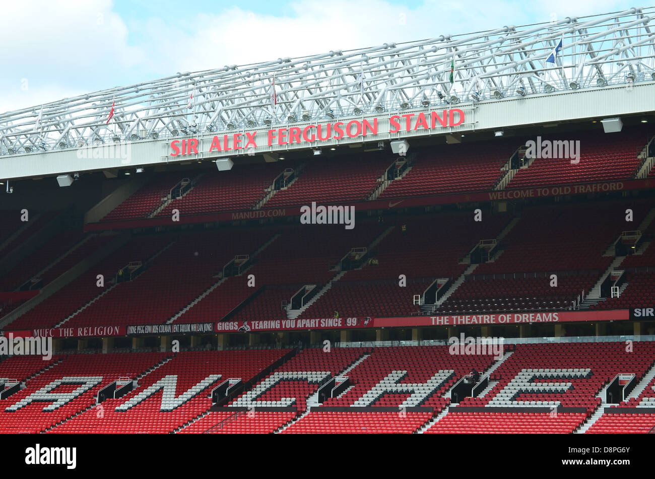 Sir Alex Ferguson Stand at Manchester United Football Club, Old Trafford, Manchester. - Stock Image