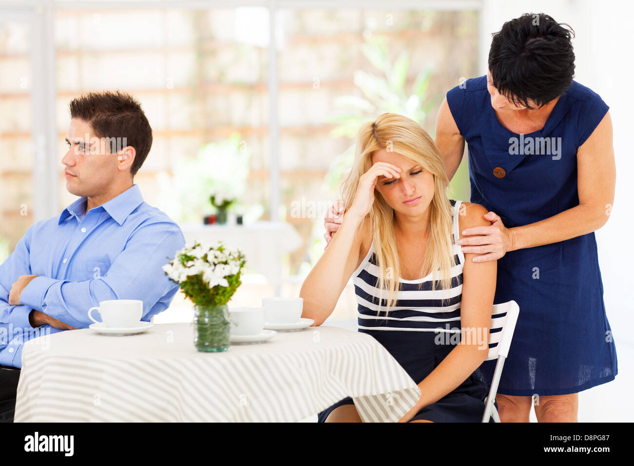 mother comforting daughter when she has relationship difficulties - Stock Image
