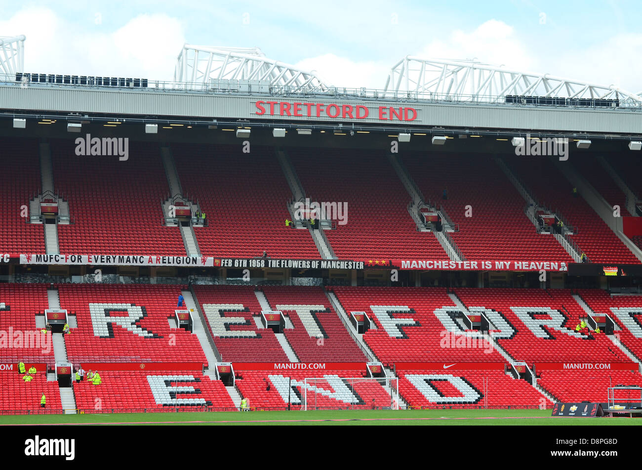 Stretford End Stand at Manchester United Football Club, Old Trafford, Manchester. - Stock Image