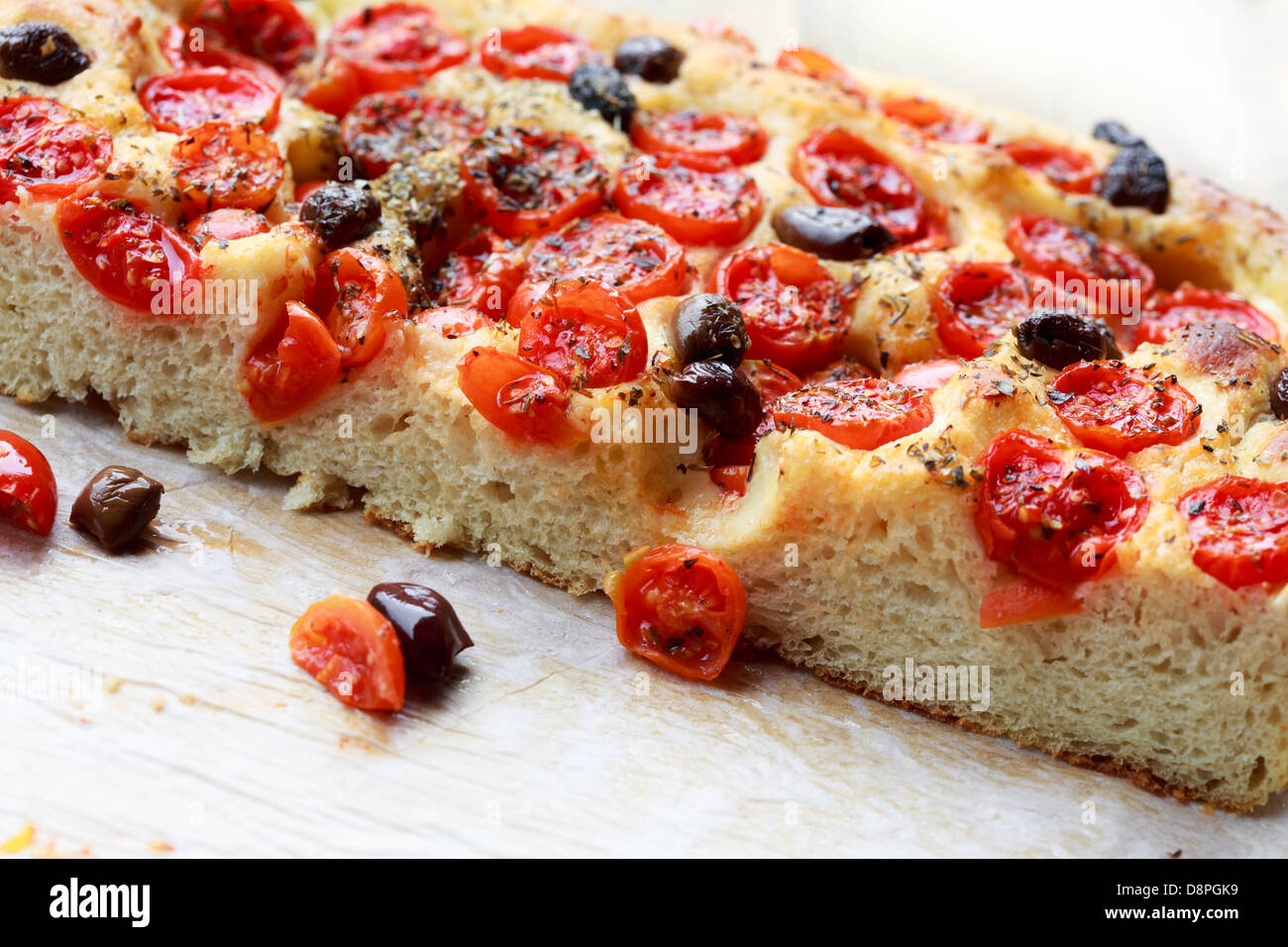 Focaccia pugliese - Fresh baked focaccia bread - Stock Image