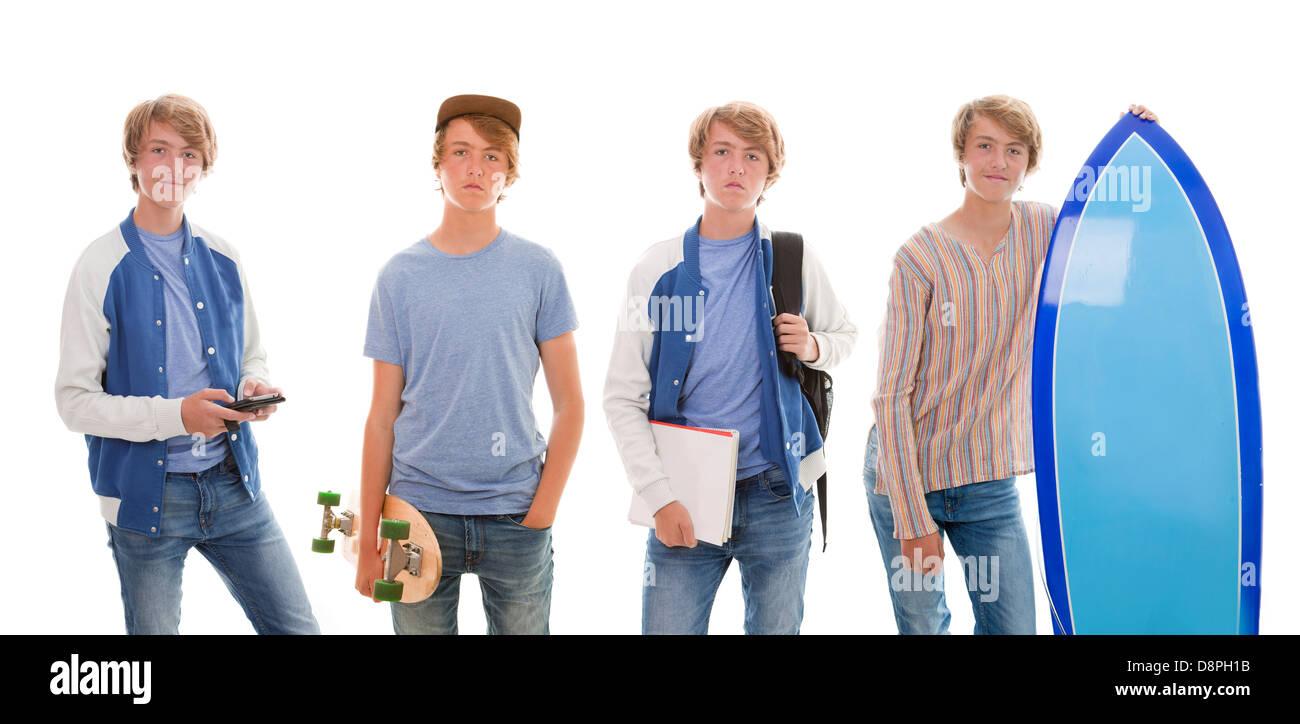 teen boy pastimes school, skateboard, phone , surfboard. - Stock Image