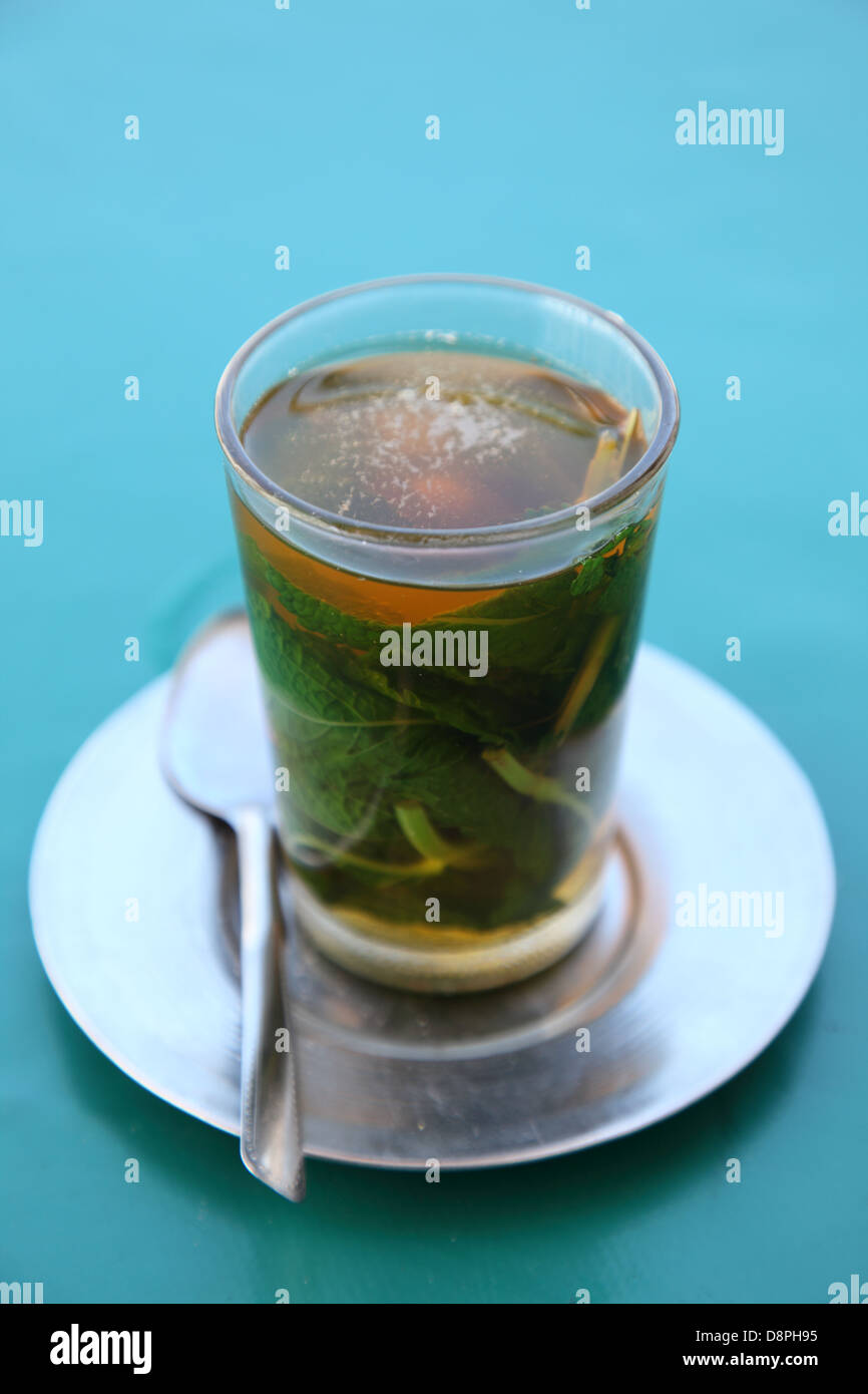 Traditional moroccan mint tea as served in a cafe in Rabat, Morocco Stock Photo