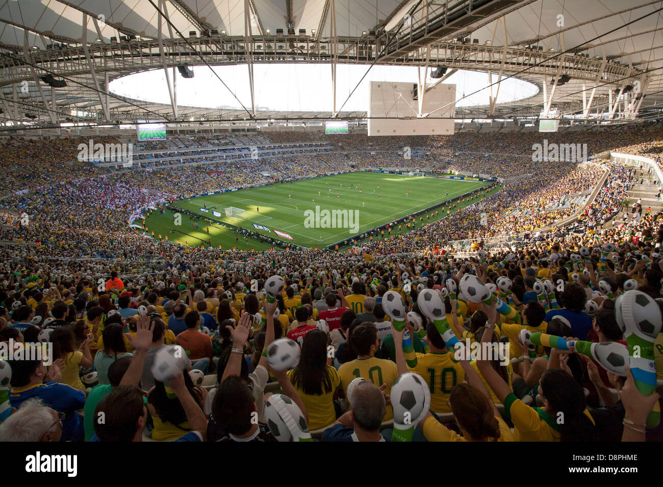 Brazil playing England in a friendly game in the new Maracana Stadium, newly renovated for Brazil's hosting - Stock Image