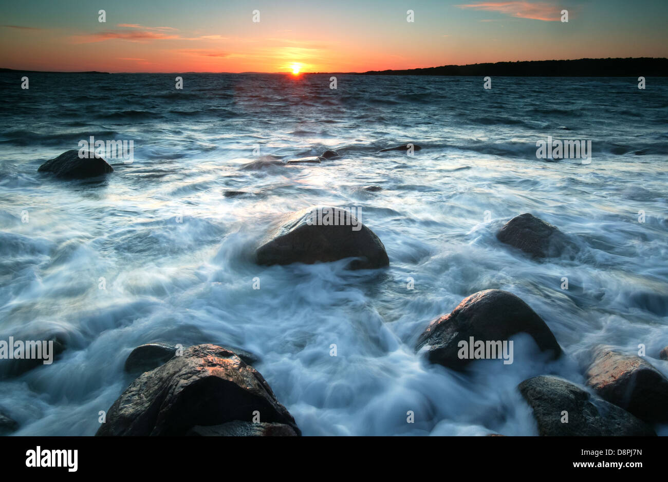 Sunset at Larkollen in Rygge, Oslofjorden, Østfold fylke, Norway. - Stock Image