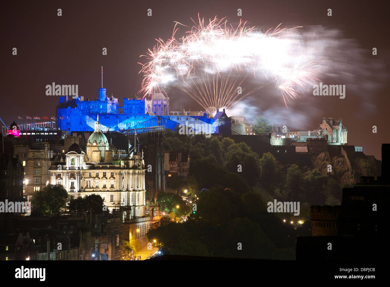 Edinburgh Castle lit during the International Military Tattoo Performance. Stock Photo