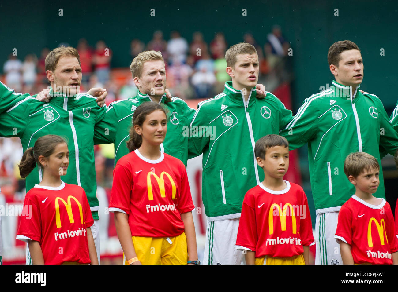 Washington DC, USA. 2nd June 2013. Members of The German National Men's team sing the national anthem during - Stock Image