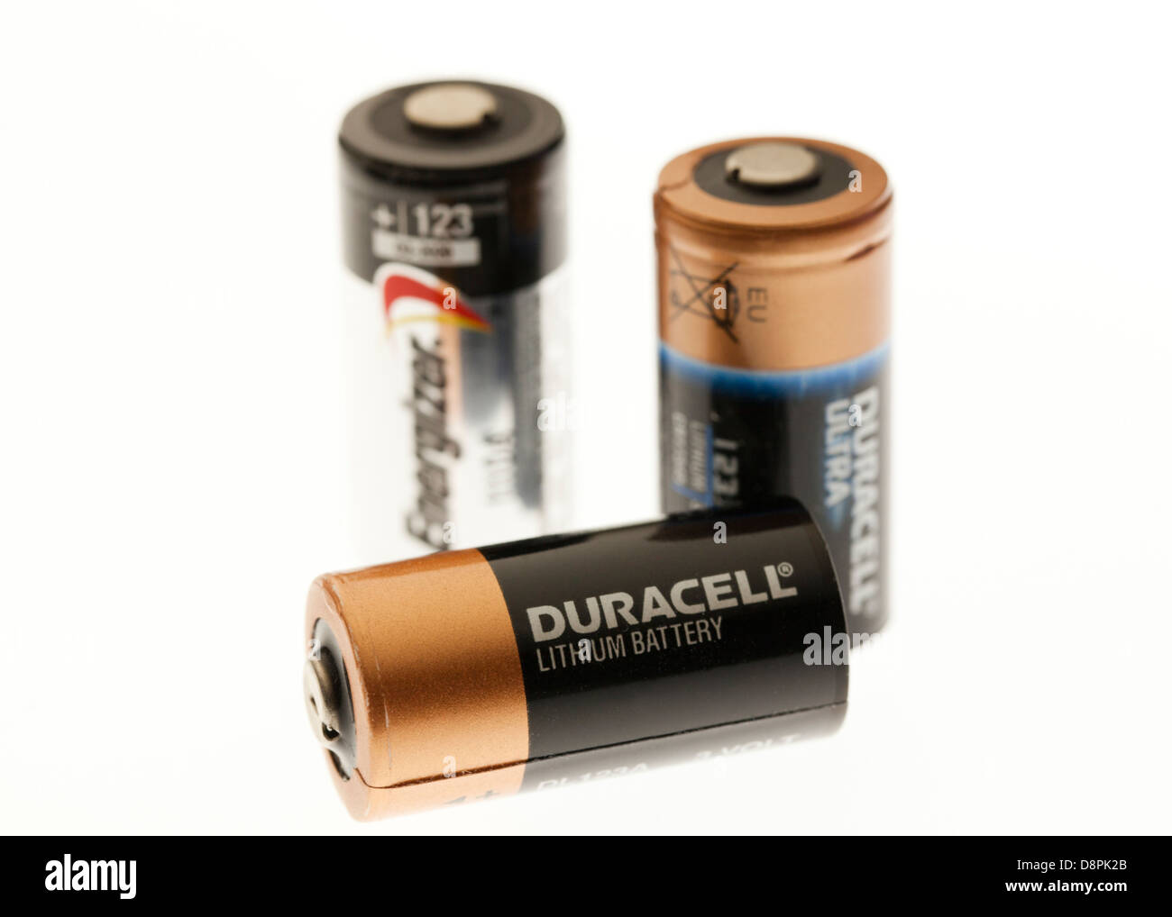 CR-123 lithium 3V batteries closeup - Stock Image