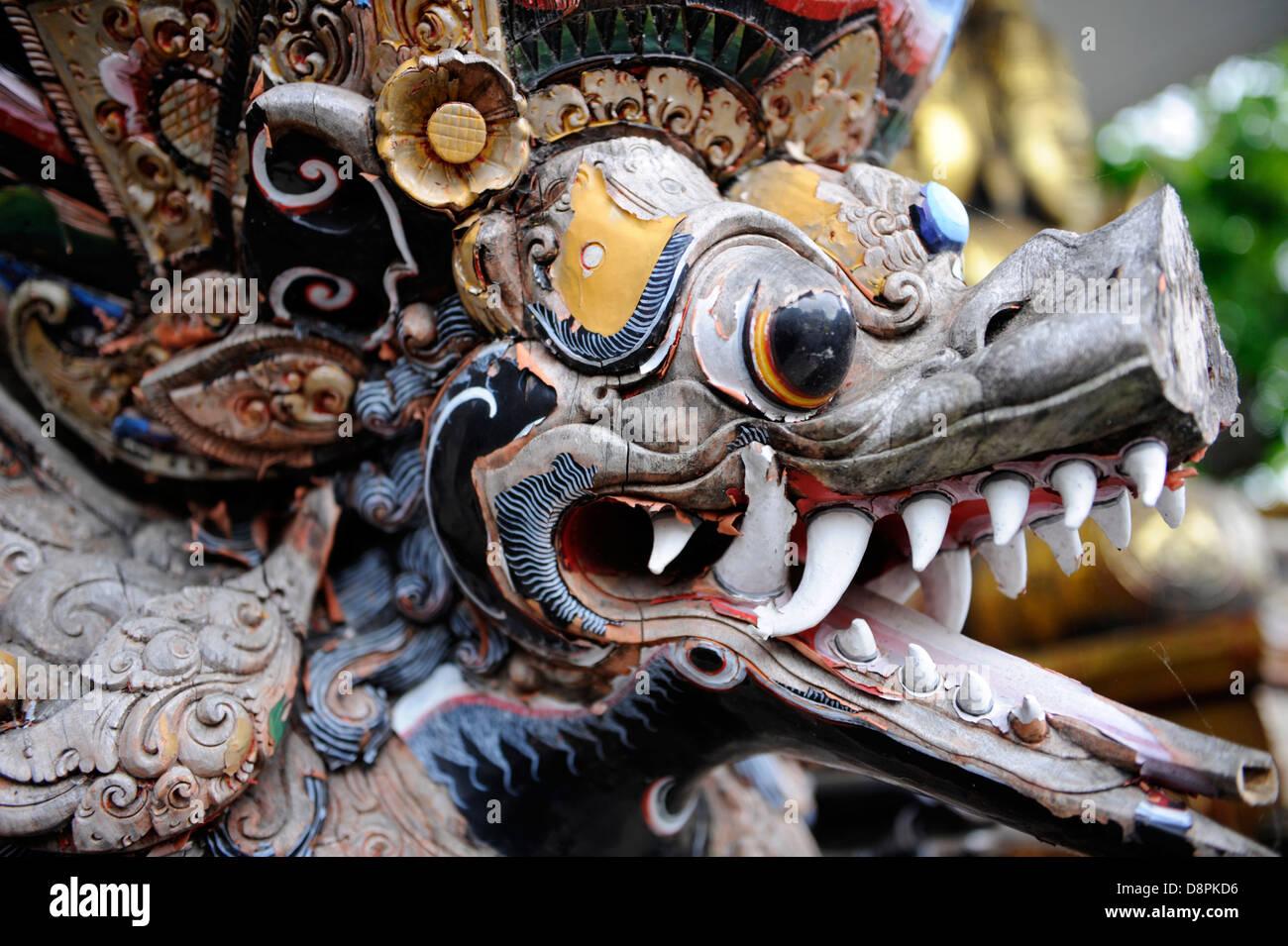 Vintage Asian Dragon statue wooden statuary art artwork - Stock Image