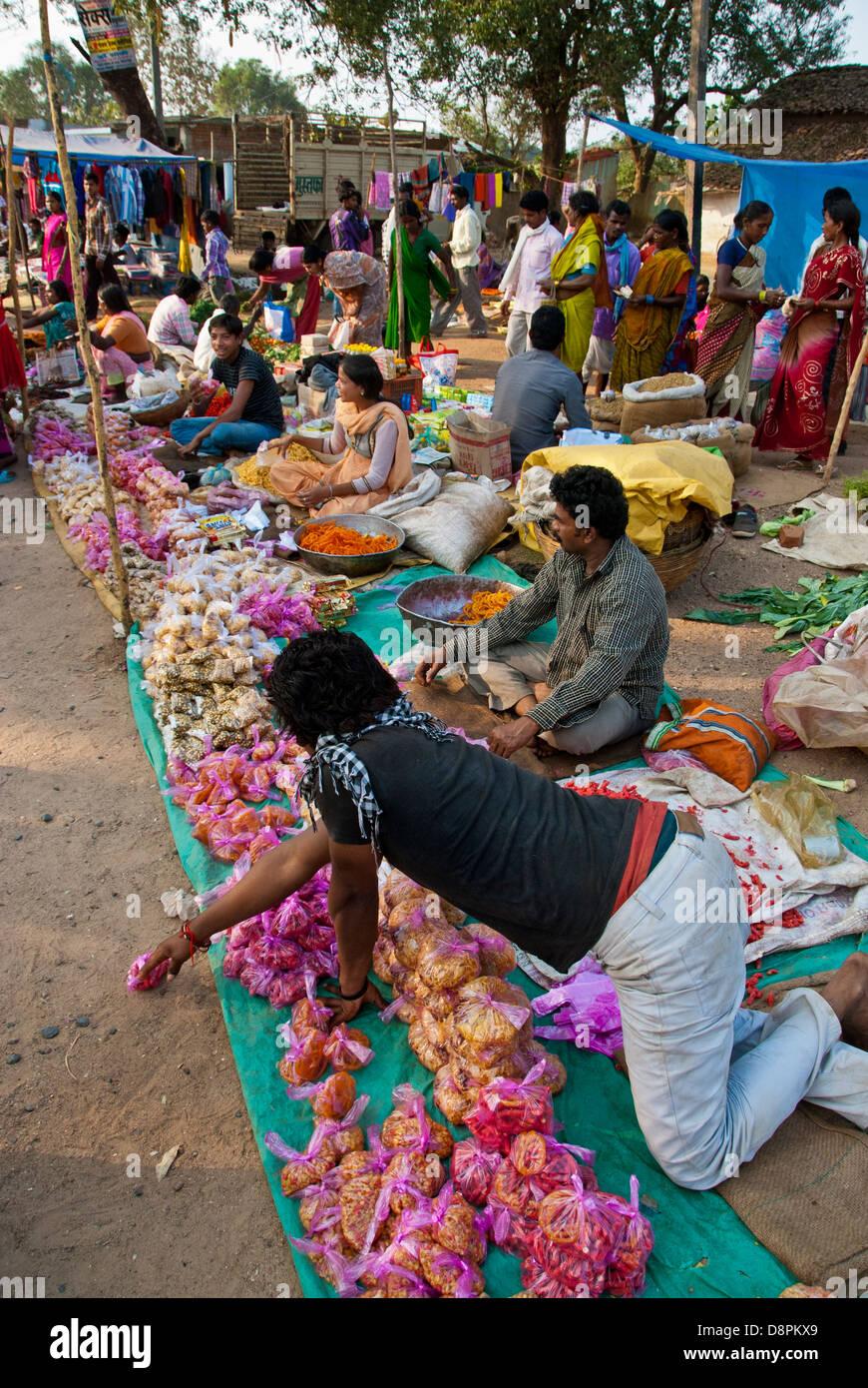 Indian farmers market in Mocha Village, Madhya Pradesh, India - Stock Image
