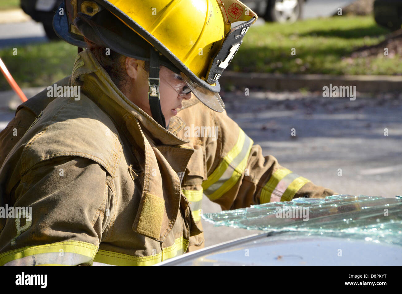 female firefighter - Stock Image