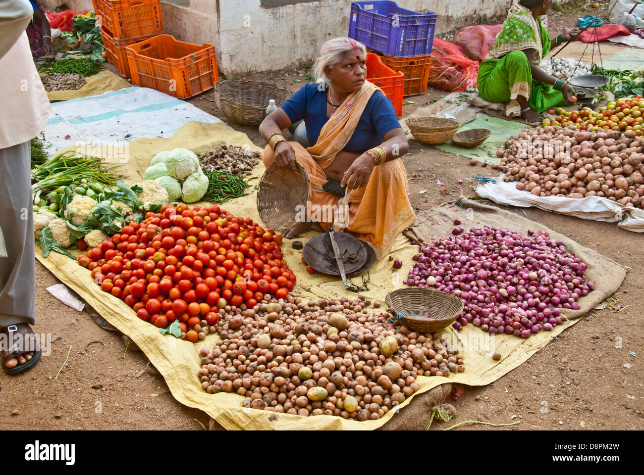 Indian open-air vegetable market in Mocha Village, Madya Pradesh, India - Stock Image