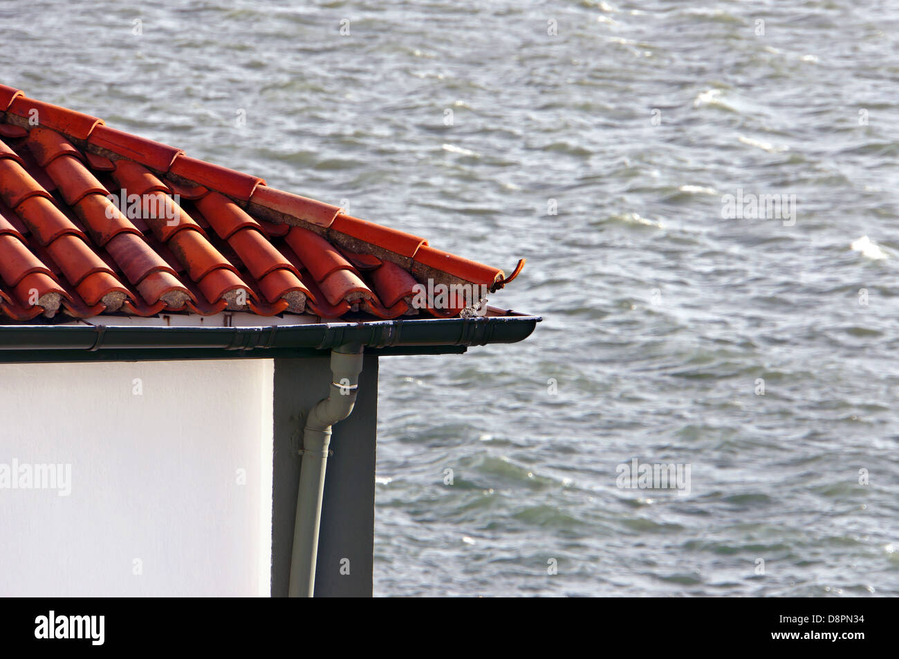 house roof near the sea. Photo taken in Algorta, Getxo, Basque Country, Spain. - Stock Image