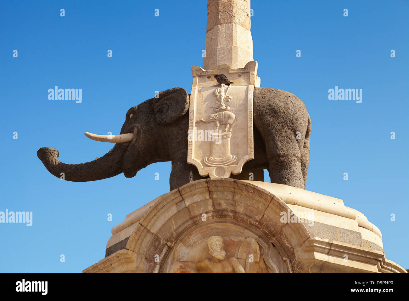Detail of the the elephant fountain (lava elephant and Egyptian obelisk), Piazza Duomo, Catania, Sicily, Italy - Stock Image