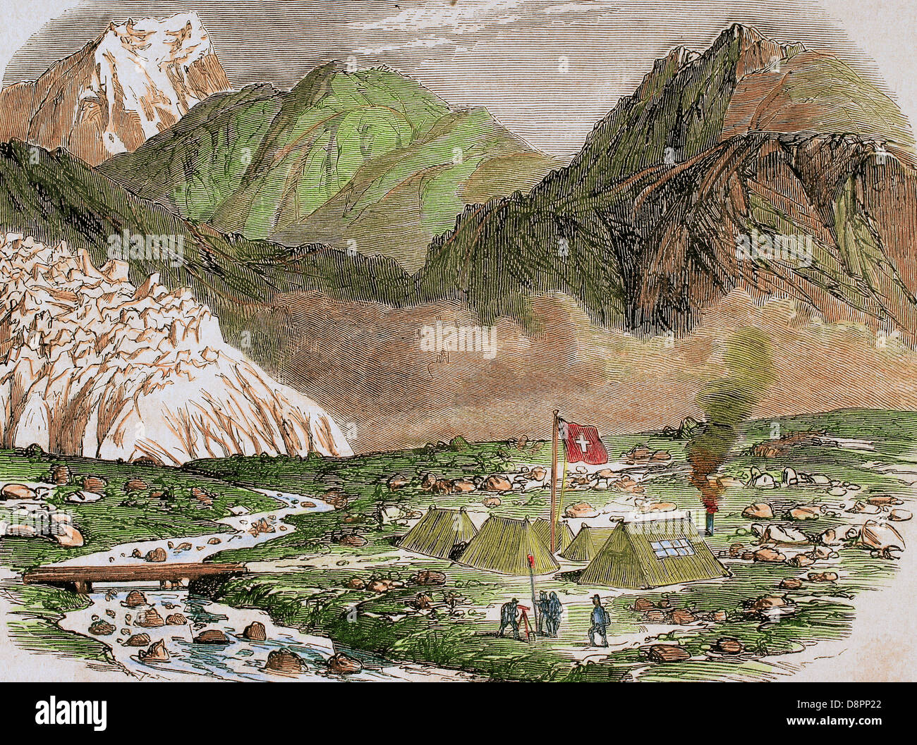 History of Switzerland. 19th century. Camp of the Officials of Federal Swiss Major State at Furka (Upper Valais). - Stock Image