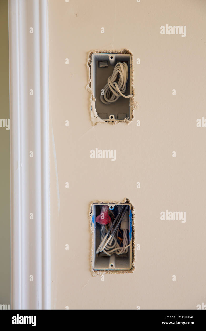 electrical box for switch and plug with wires while new house Stock ...