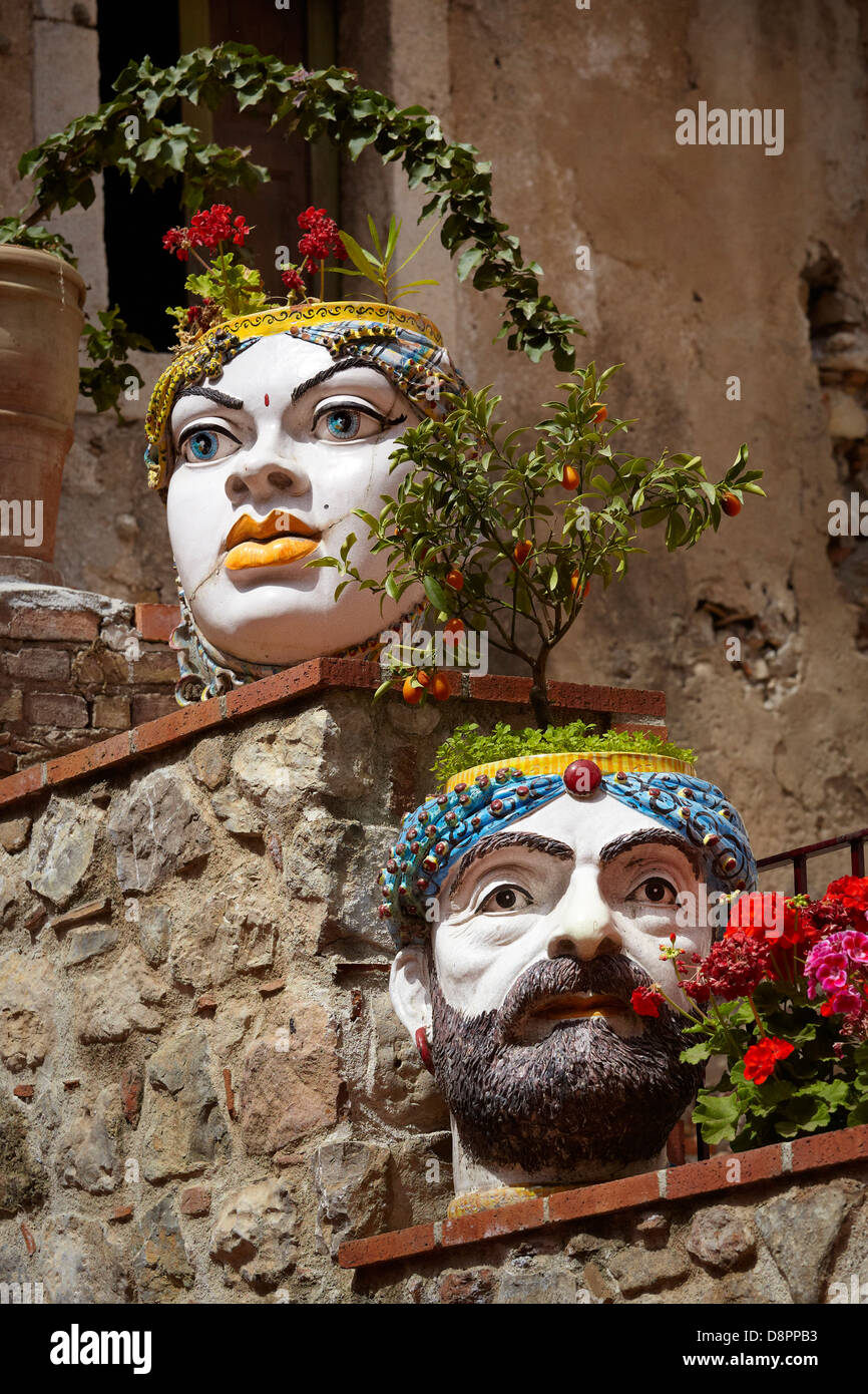 Sicilian Ceramics as decoration, old town in Taormina, Sicily, Italy - Stock Image