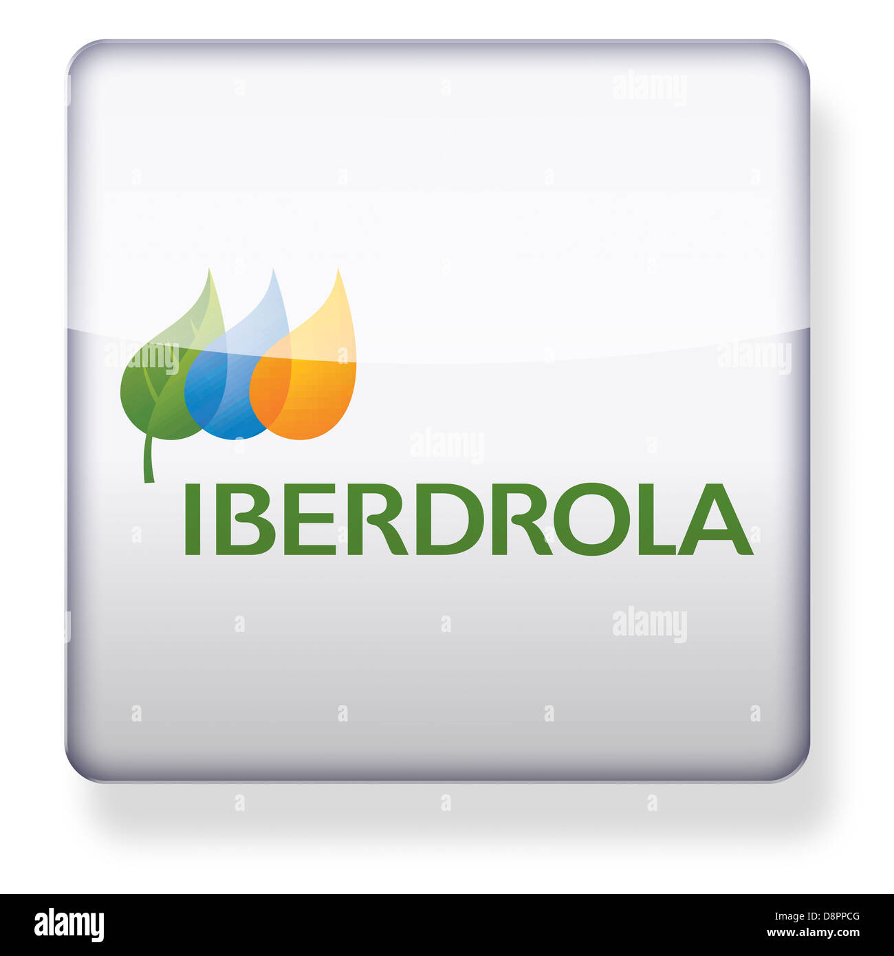 Iberdrola logo as an app icon. Clipping path included. - Stock Image