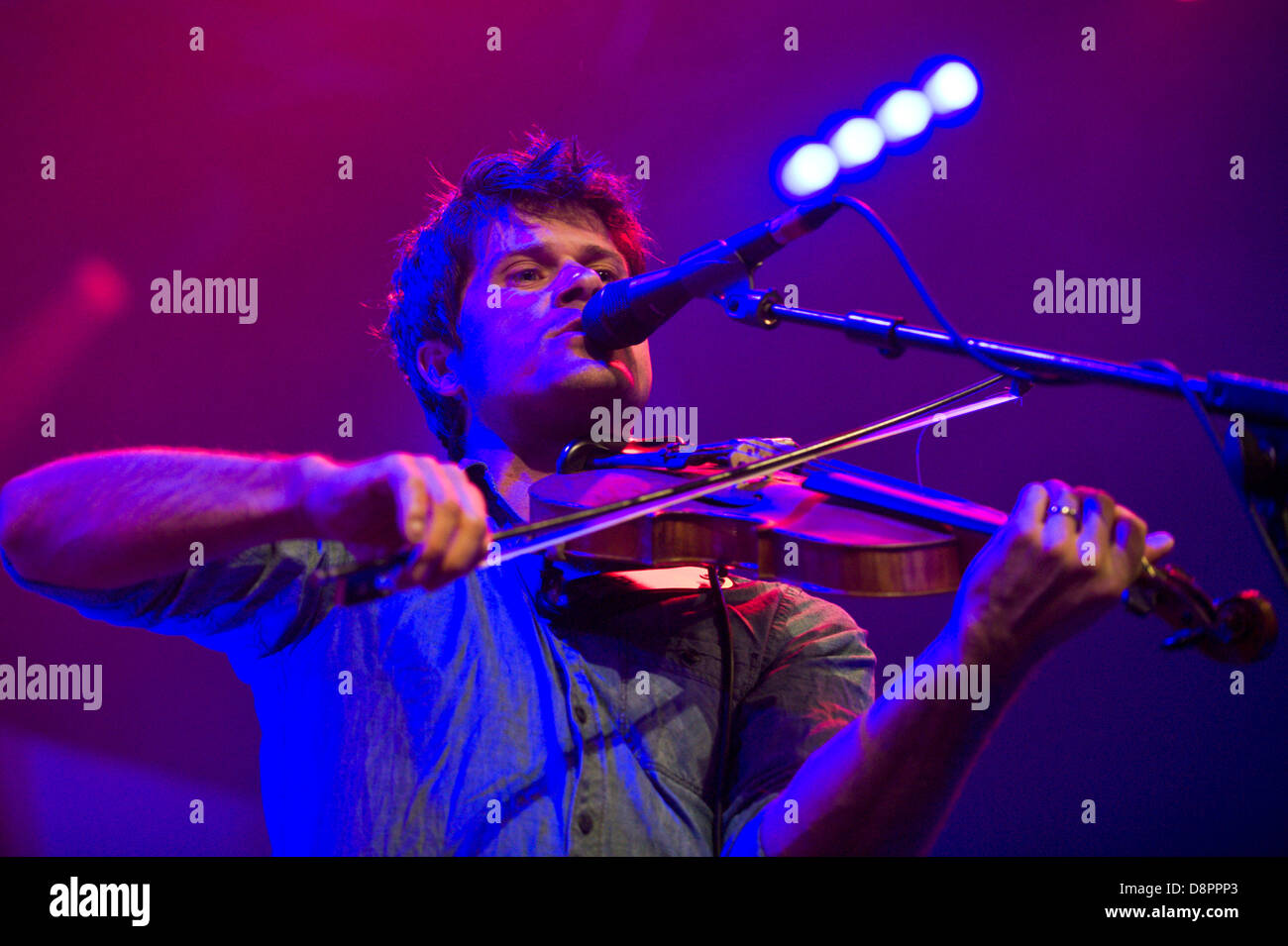 Seth Lakeman playing violin with his band on stage at Hay Festival 2013 Hay on Wye Powys Wales UK - Stock Image