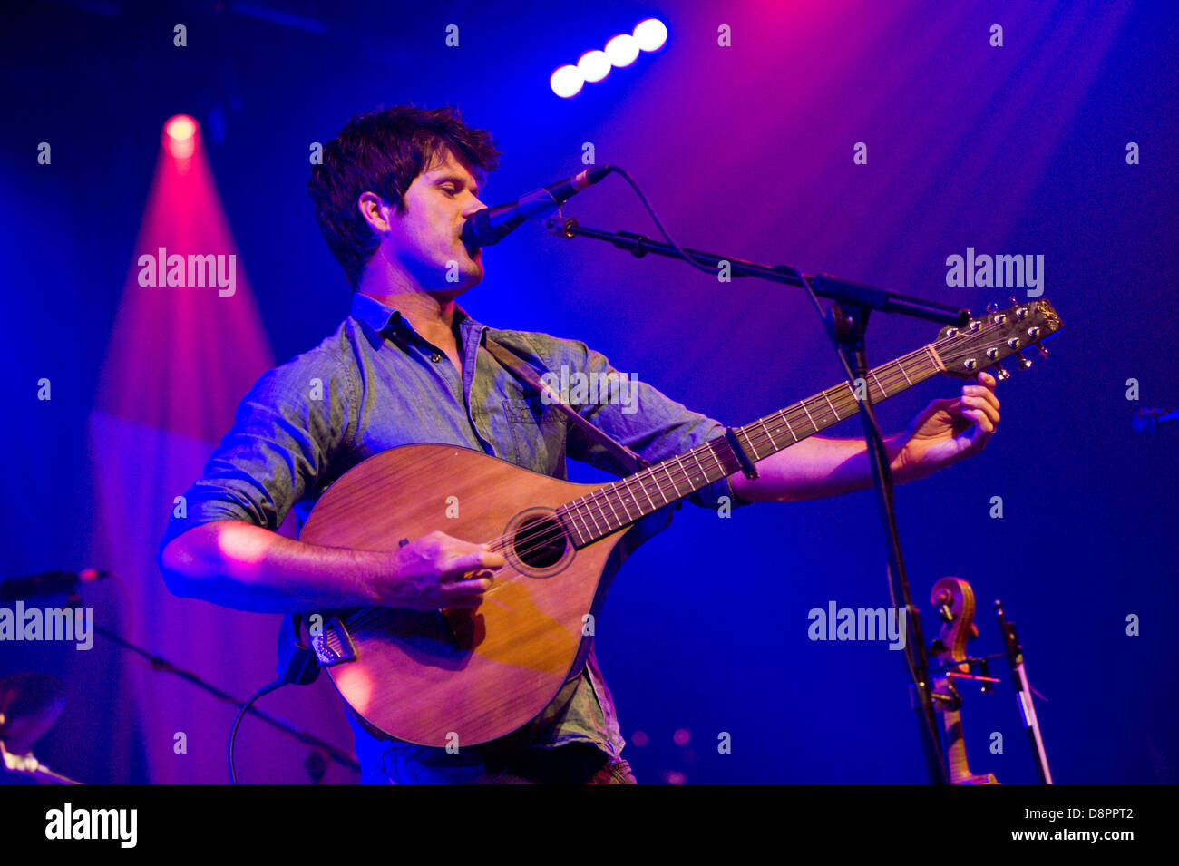 Seth Lakeman playing mandolin with his band on stage at Hay Festival 2013 Hay on Wye Powys Wales UK - Stock Image