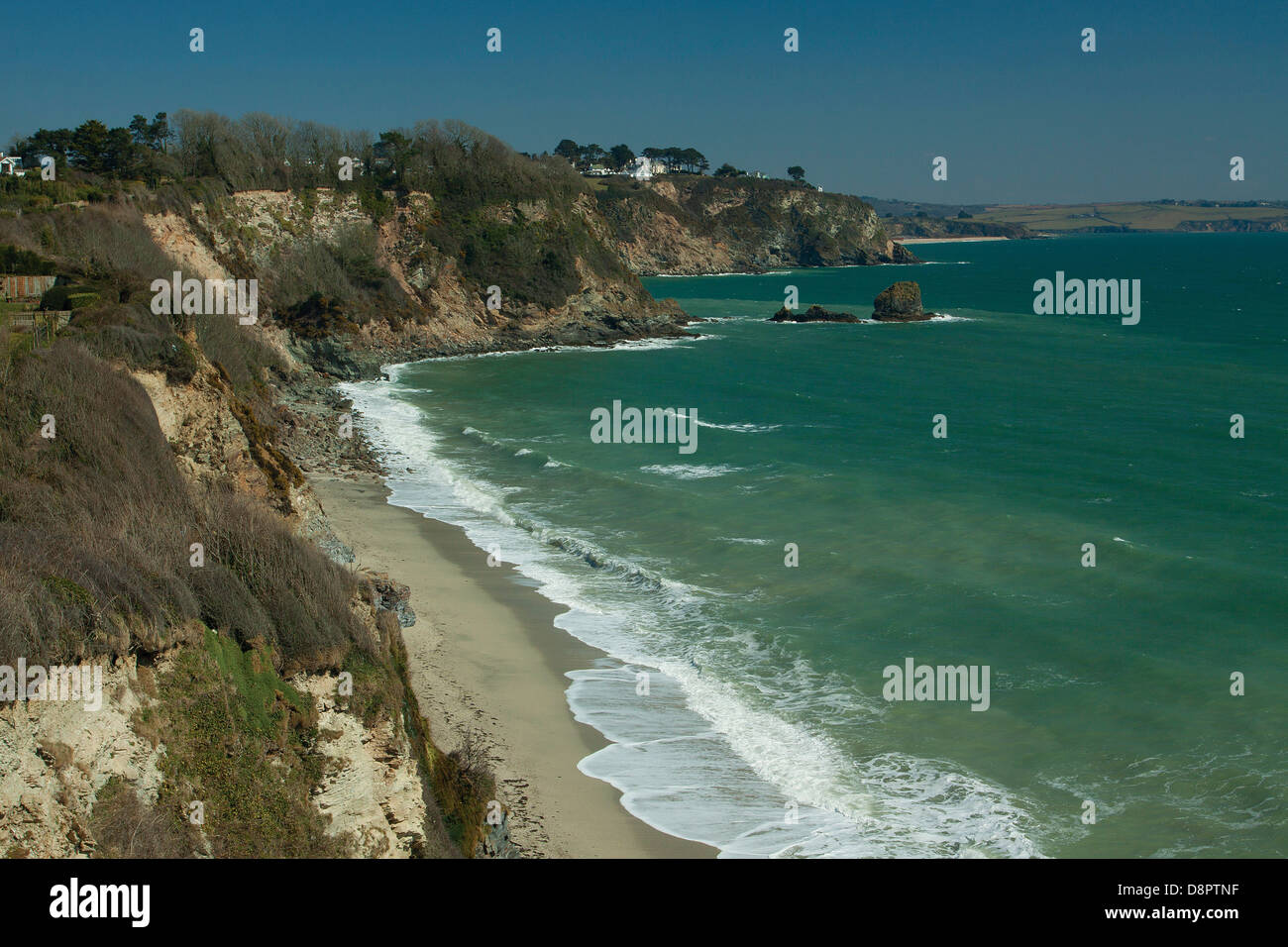 Coastline near Charlestown, Cornwall - Stock Image