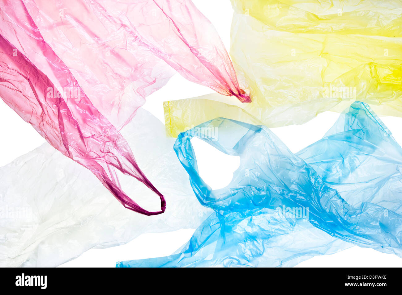 colorful, crumpled plastic bags isolated on white background with clipping path included - Stock Image