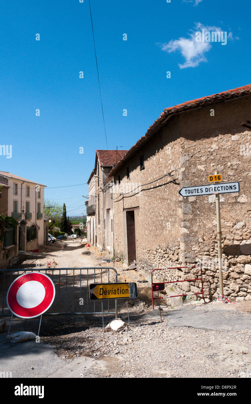 A road closed for roadworks in a small French village. - Stock Image