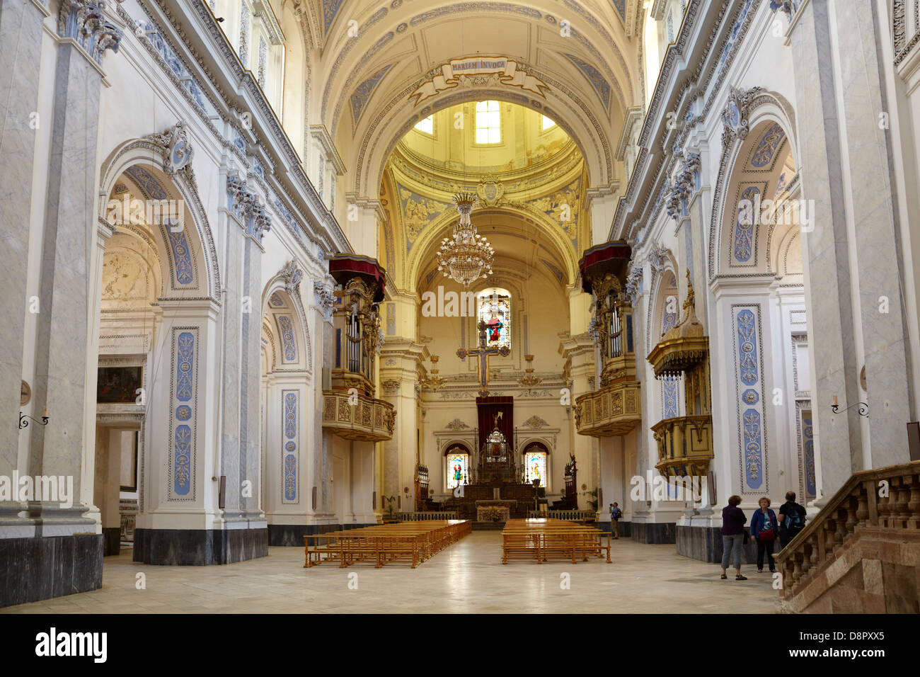Piaza Armerina, interior view of Baroque Cathedral from 1768, Sicily, Italy - Stock Image