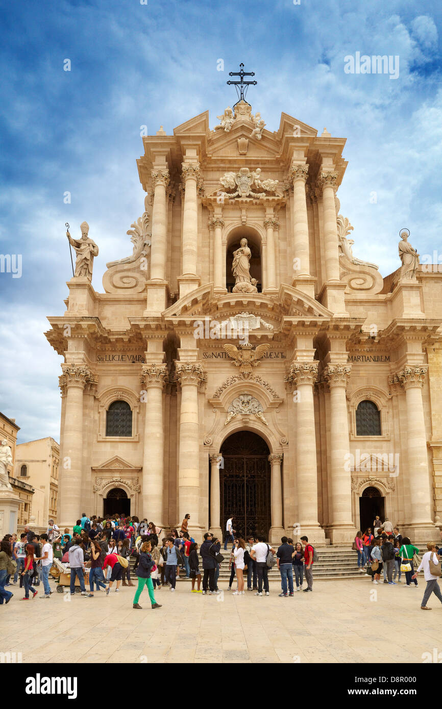 Baroque Cathedral or duomo in Siracusa (Syracuse), Sicily, Italy UNESCO - Stock Image