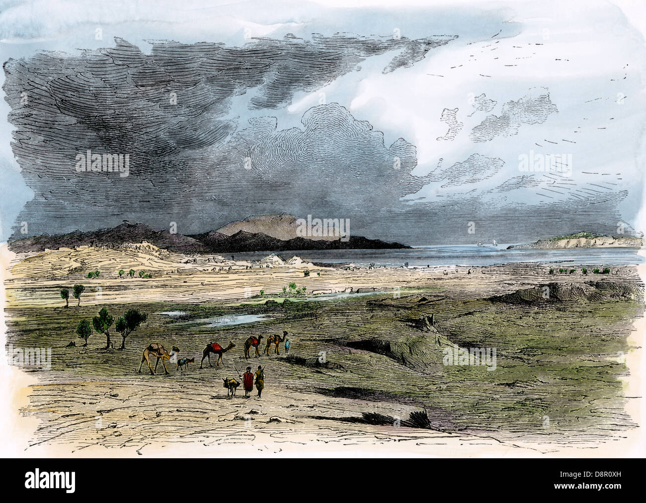 Site of ancient Troy (in modern Turkey), as archaeologist Heinrich Schliemann found it in the 1800s. Hand-colored - Stock Image