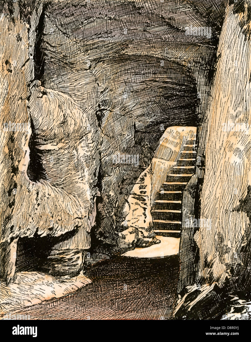 Entrance to the Catacombs of Rome, where early Christians were buried. Hand-colored woodcut - Stock Image