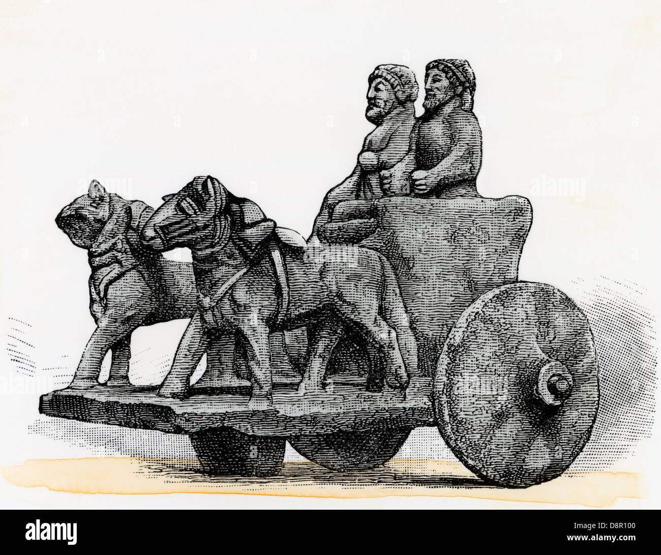 Ancient Phoenician chariot carved in stone. Hand-colored woodcut - Stock Image