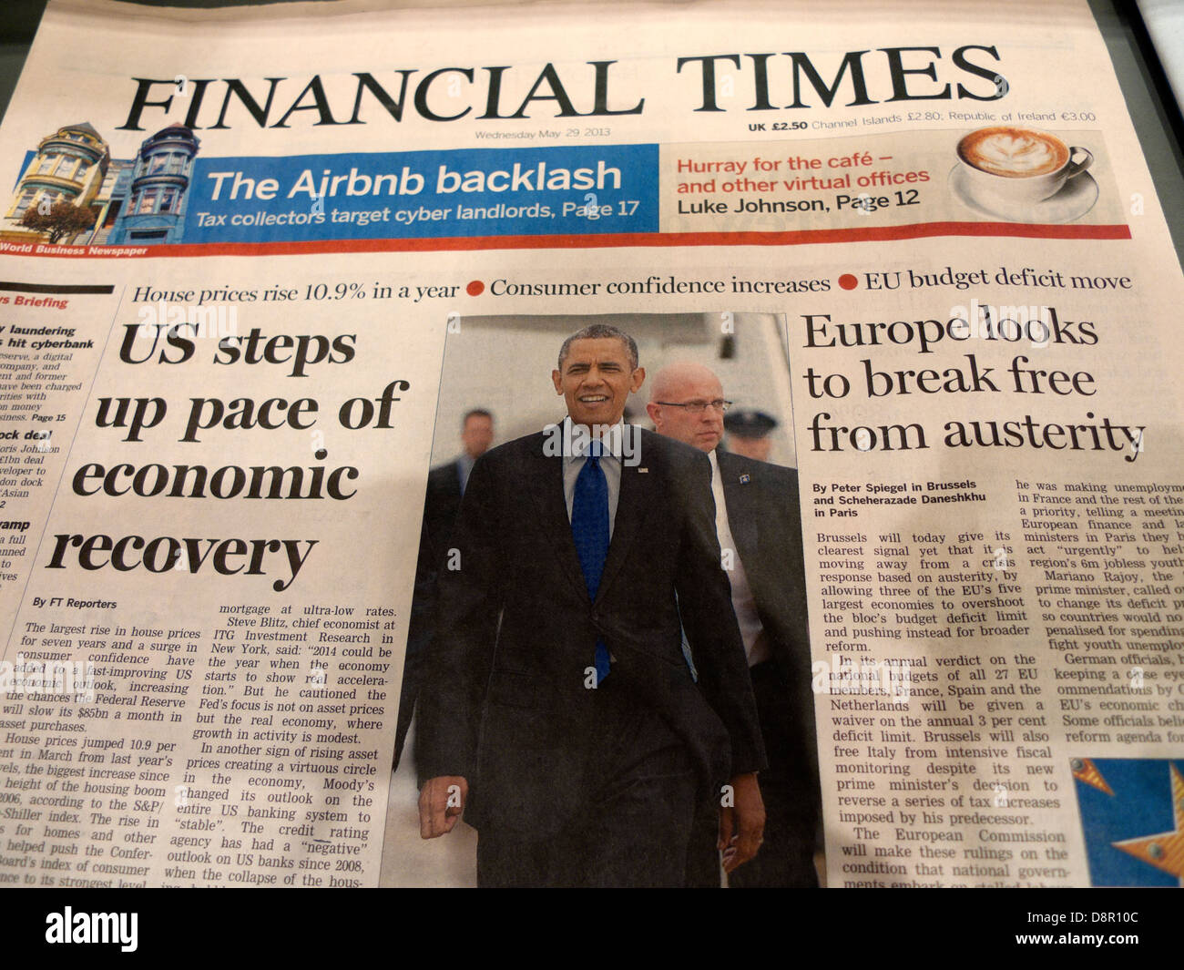 Financial Times newspaper headlines President Obama USA economic recovery Europe austerity 29 May 2013  London England - Stock Image