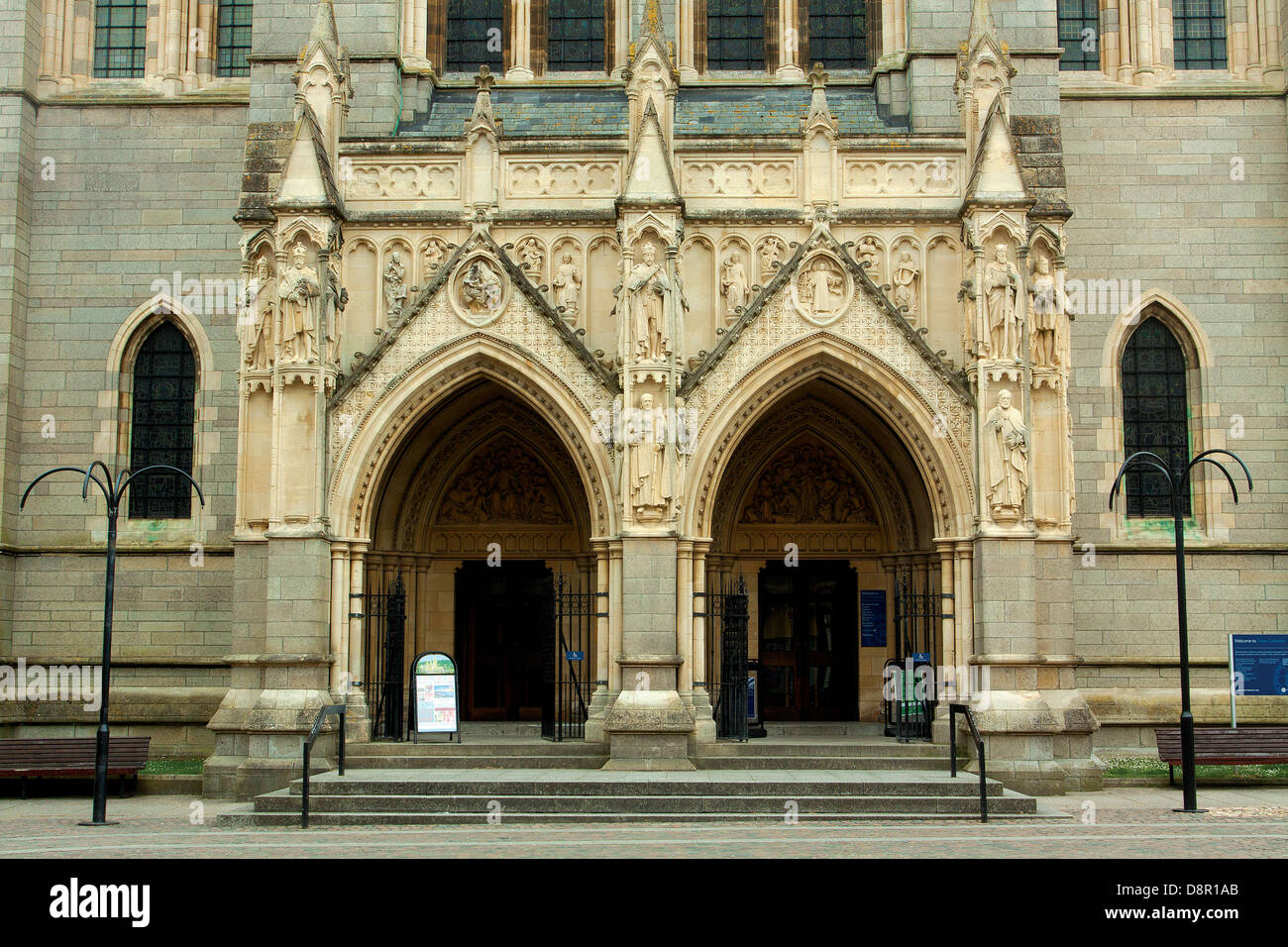 The entrance of Truro Cathedral, Truro, Cornwall - Stock Image