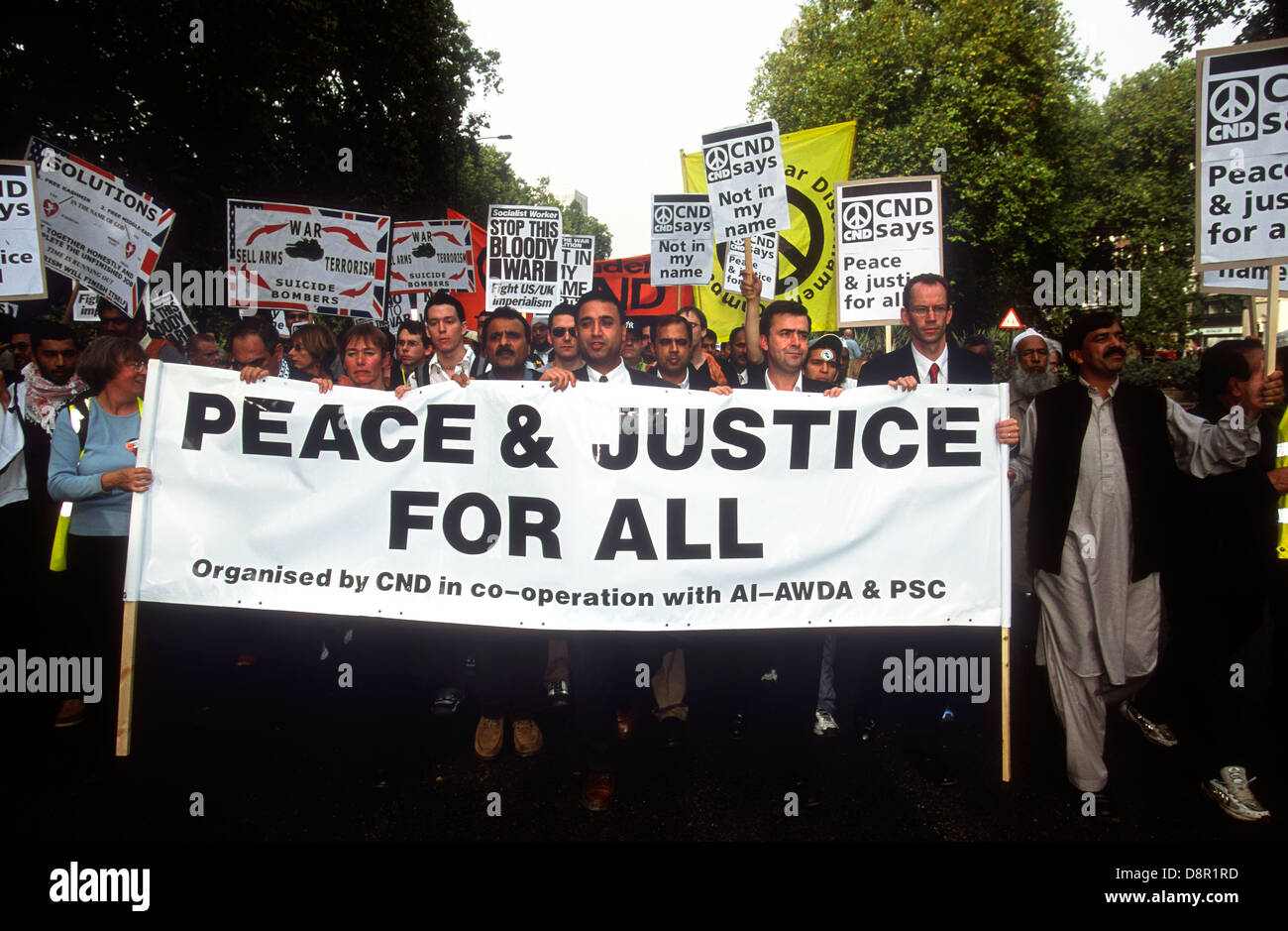 March & rally against bombing of Afghanistan following terrorist attacks on USA on 11 September. 13 October - Stock Image