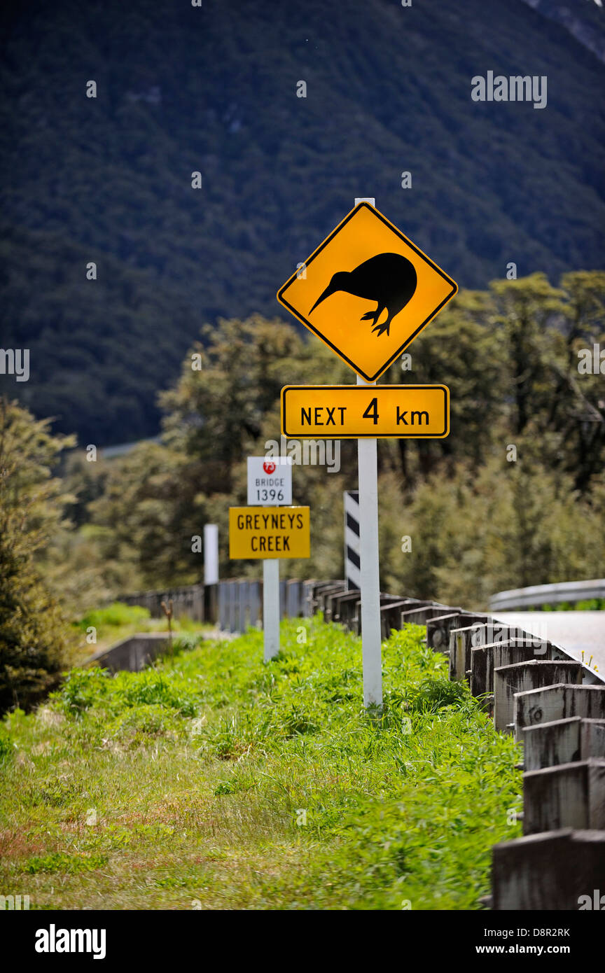 Kiwi caution sign on road to Arthurs Pass in Southern Alps South Island New Zealand - Stock Image