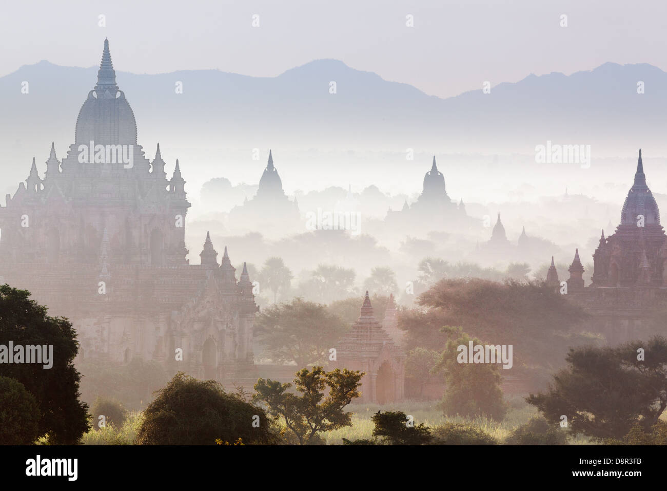 Some of the 4000 ancient temples on the plain of Bagan (or Pagan) in Burma (or Myanmar). A UNESCO World Heritage Stock Photo