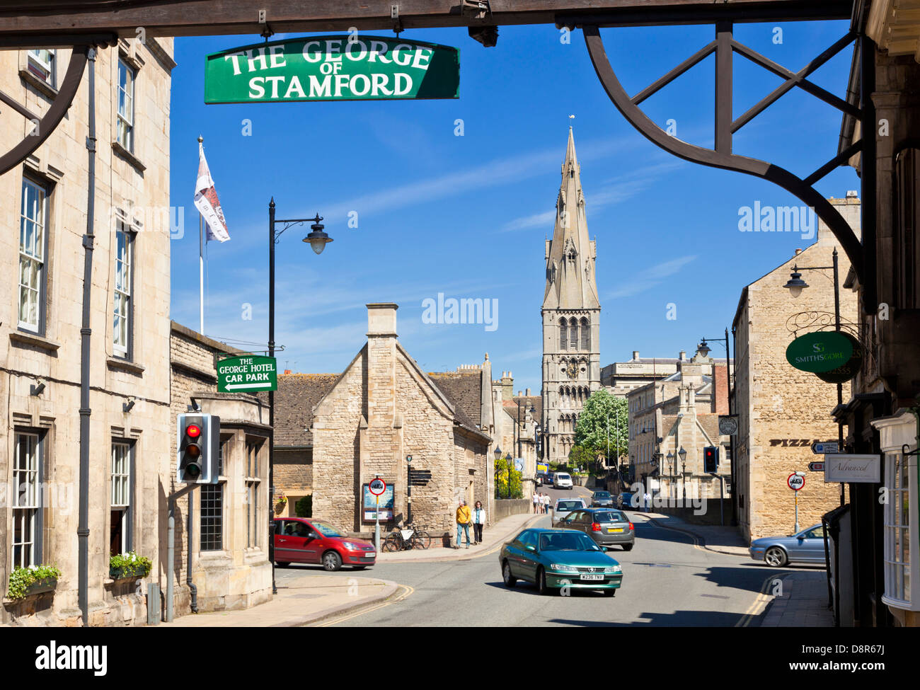 The view to St Mary's church looking from the George Hotel a famous old coaching inn in Stamford Lincolnshire - Stock Image