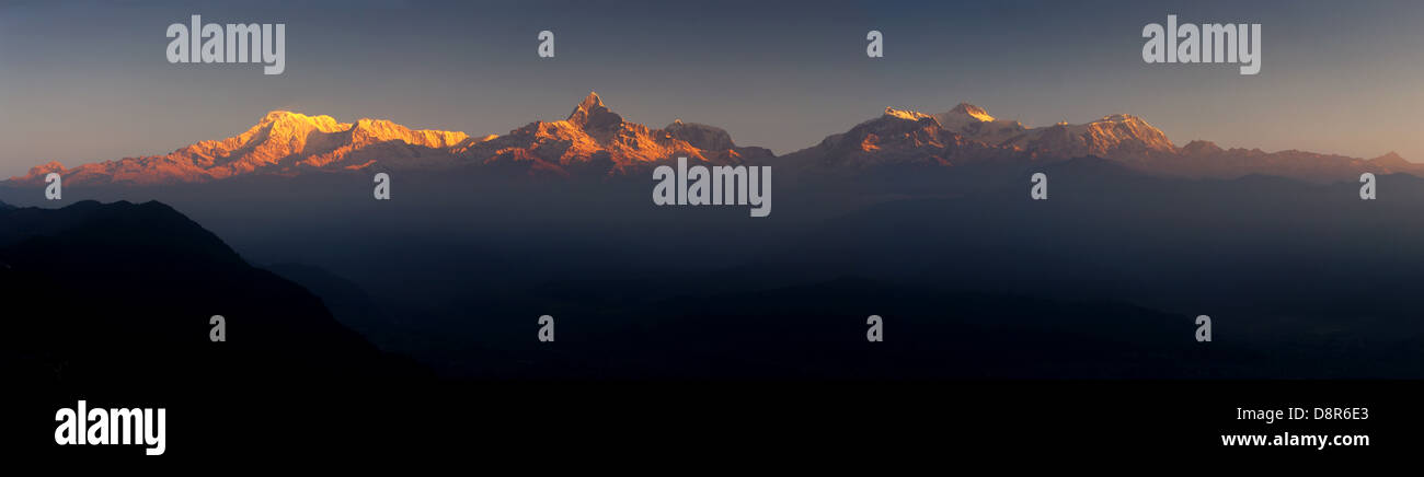 Annapurna at sunset, nepal, himalaya, - Stock Image