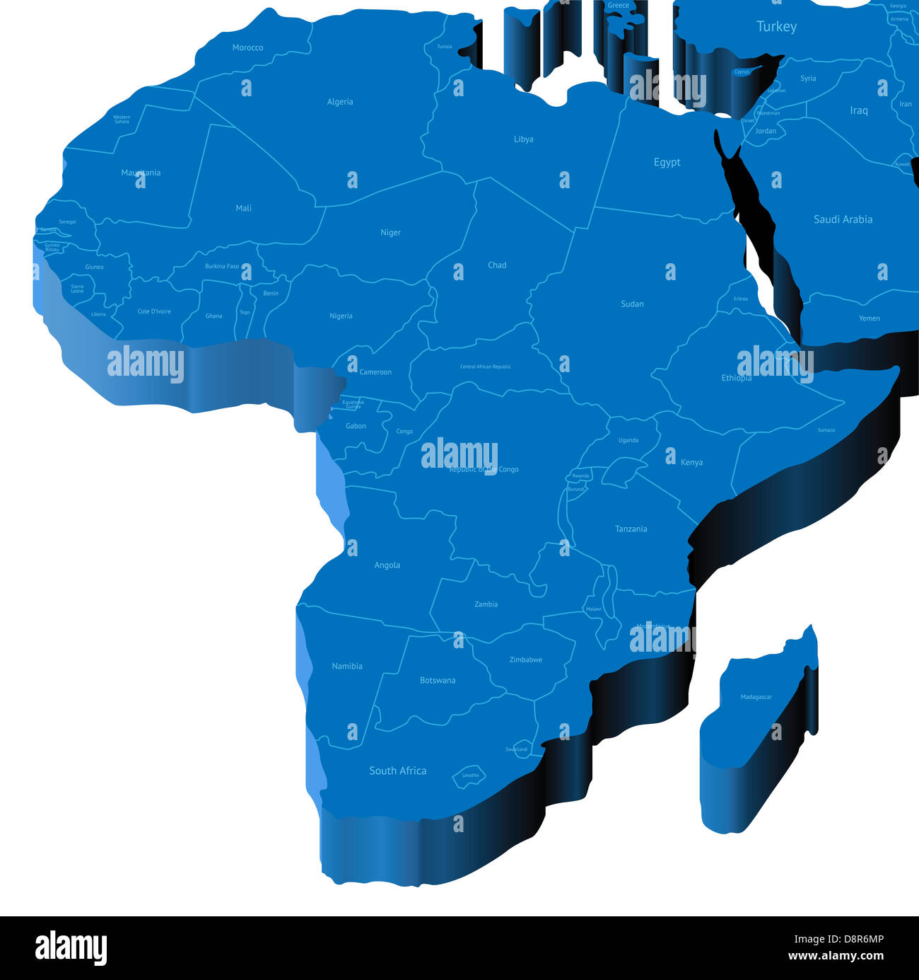 Map of Africa with national borders and country names. Stock Photo