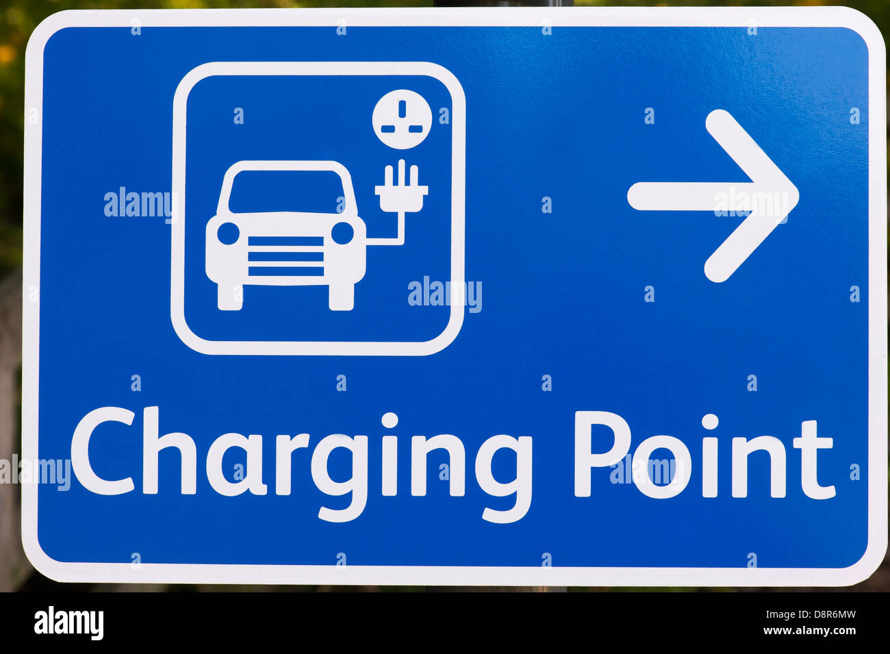 Electric car charging point sign - Stock Image