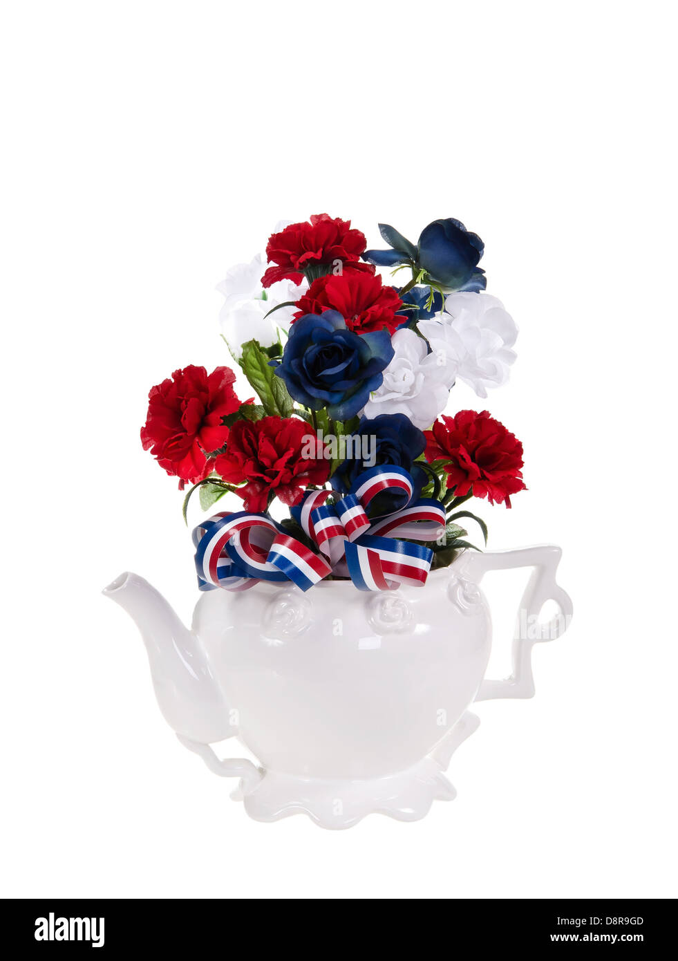 Patriotic, red, white, and blue, flower arrangement over white Stock ...