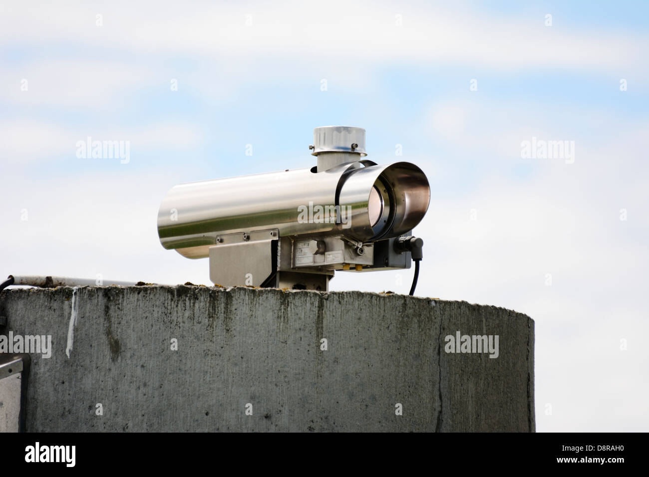 Security monitoring with a video surveillance camera - Stock Image
