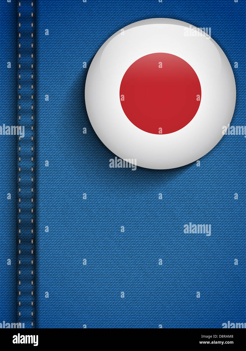 Vector - Japan Flag Button in Jeans Pocket Stock Photo