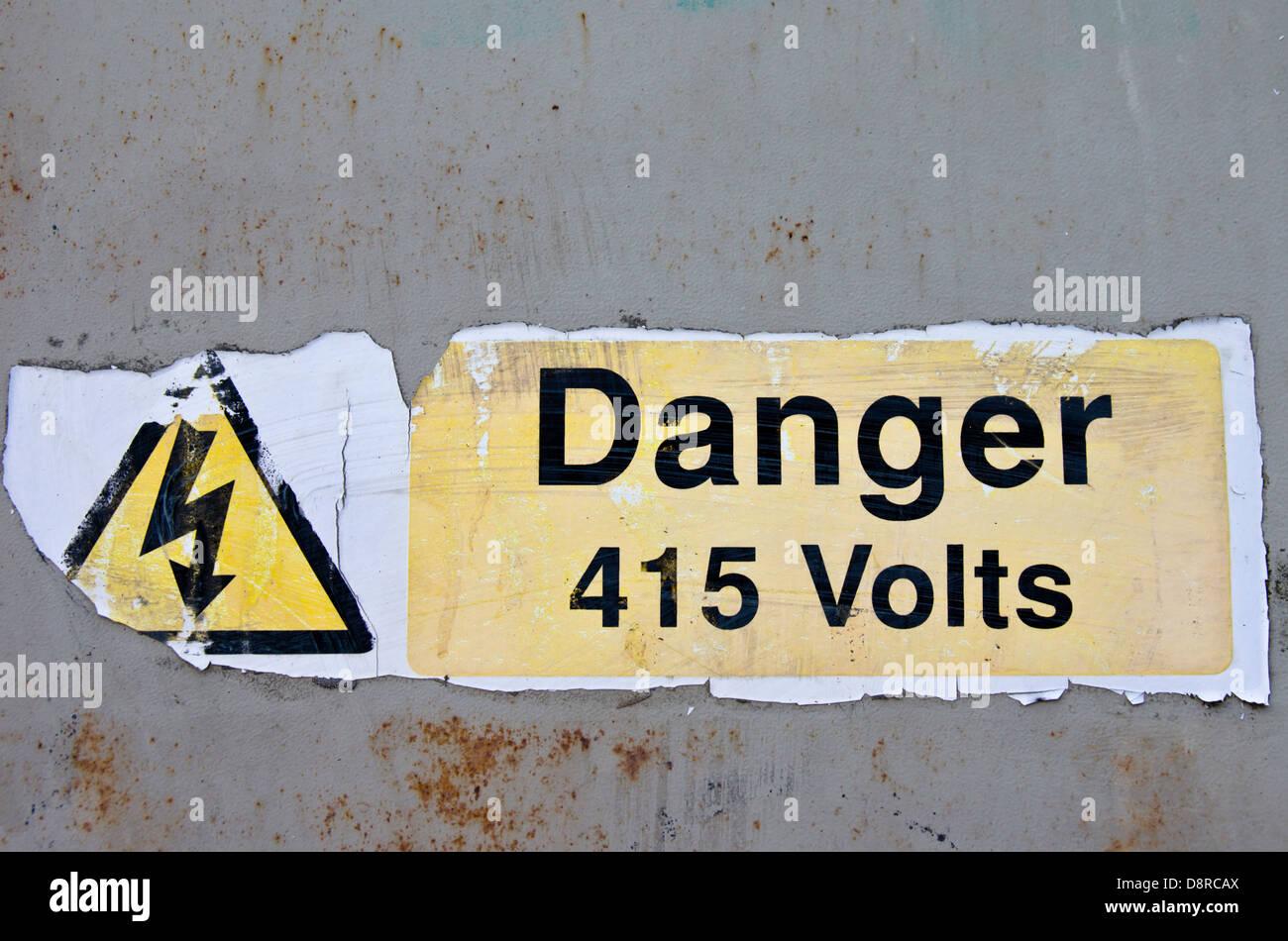 Danger Sign 415 volts - Stock Image