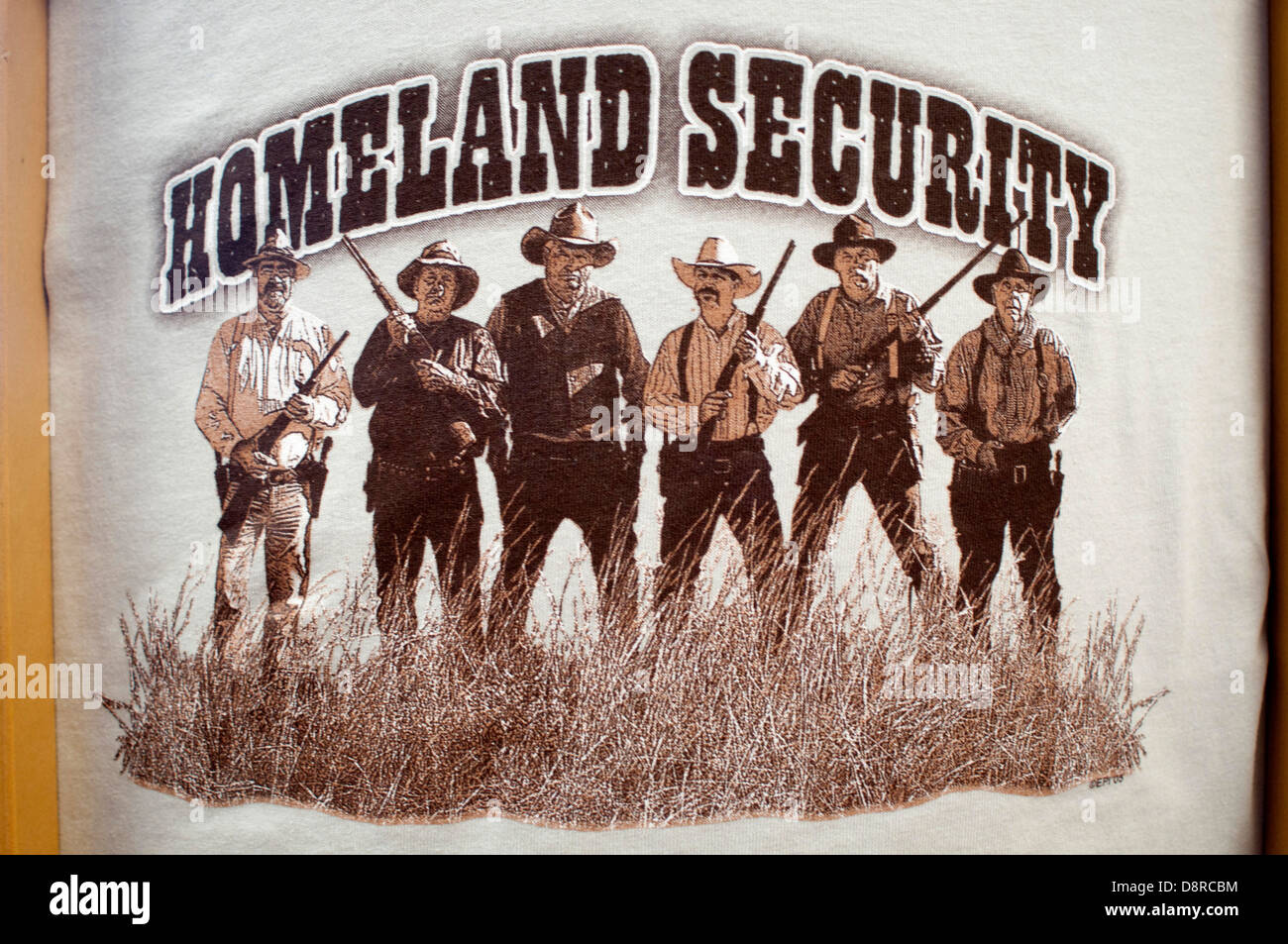 T-shirt mocking the US government's Homeland Security policy. - Stock Image