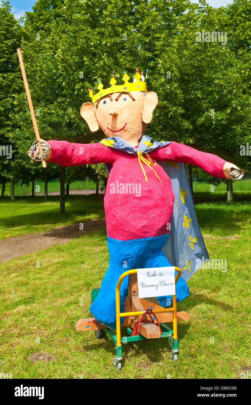 Life-size puppets made by schoolchildren - France. - Stock Image