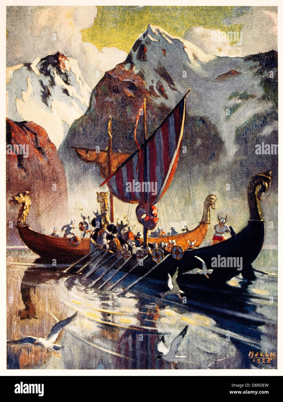 Viking Ship in Fjord, Lithograph, 1925 after Painting by Manning de V. Lee - Stock Image