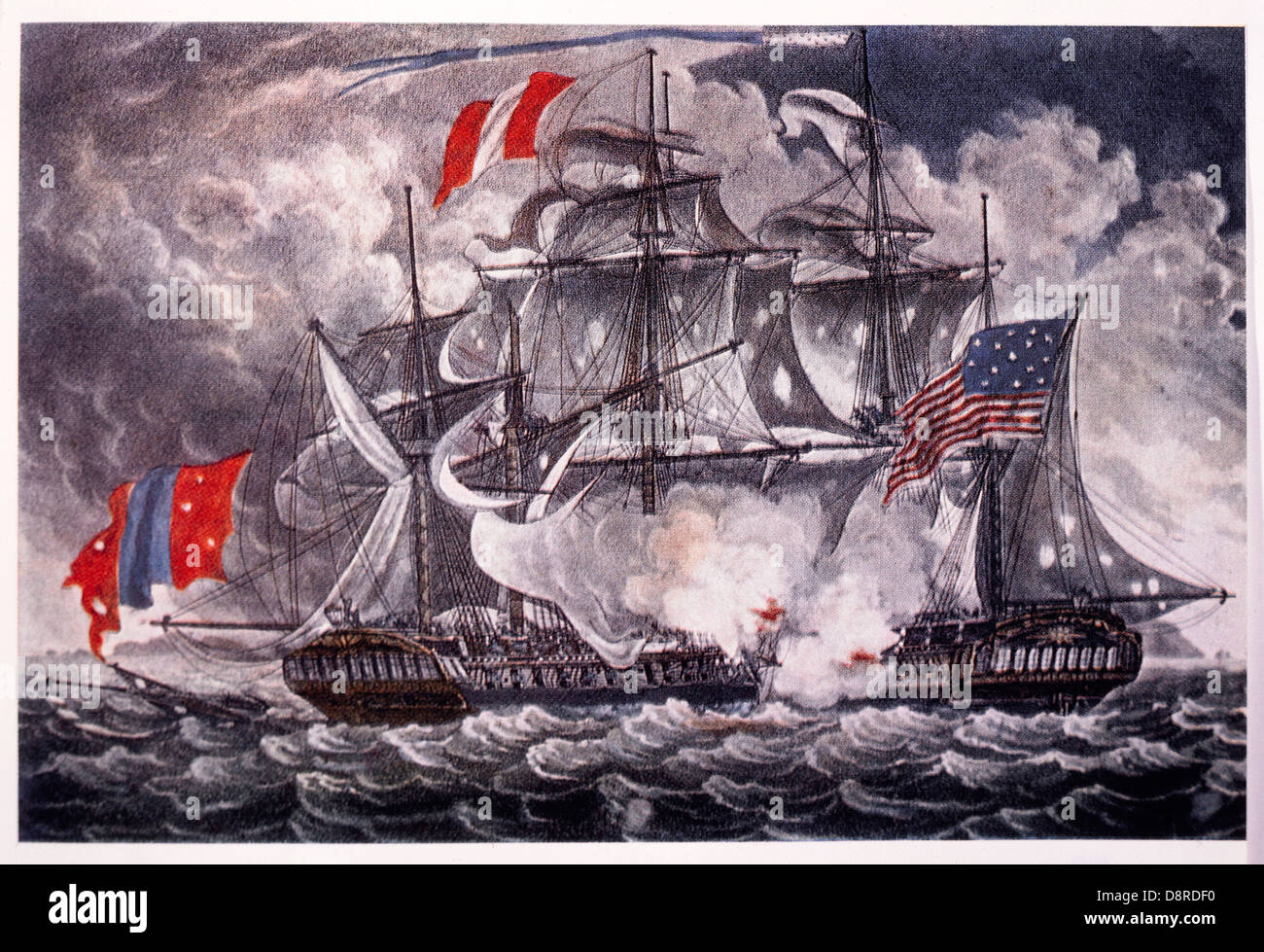 Battle Between U.S. Frigate Constellation and French Frigate L'Insurgente, in West Indies, February 9, 1799 - Stock Image